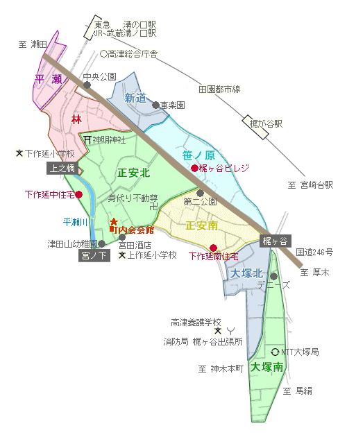 下作延中央町内会 地区分図